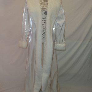 full length white satin and fur cloak