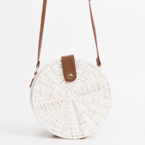 Black or white straw shoulder bag