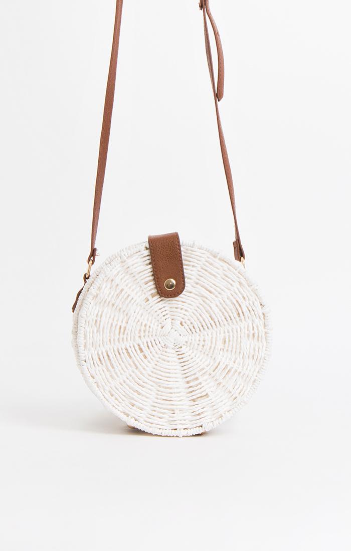 Black or white straw shoulder bag
