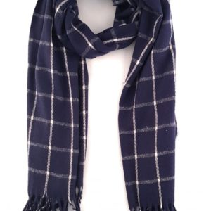 Navy or brown check wool long scarf