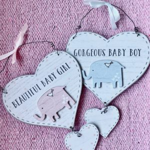 Baby Boy Baby Girl Hanging wooden heart sign with elephant